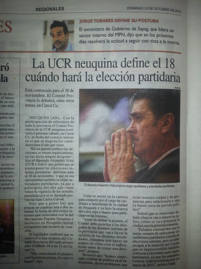 VIDAL Y LA UCR ELECCION PARTIDARIA